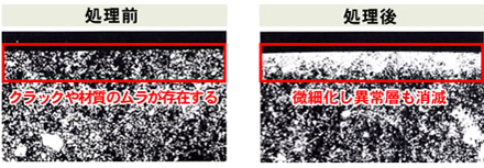 WPC処理前後の顕微鏡による比較